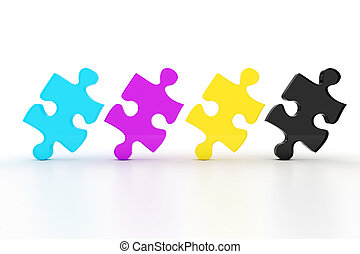 3d colorul CMYK puzzle pieces on white background