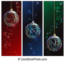 Glass bauble banners - Three elegant glass Christmas bauble...