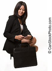 Asian business woman - Full body of an attractive black hair...