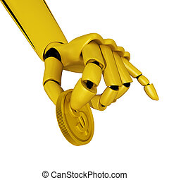 Concept of payment - Gold robotic hand hold a coin. Concept...