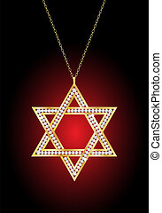 A diamond Star of David necklace on gold chain, against red...