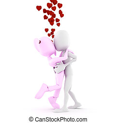 3d man and girl kissing, isolated on white