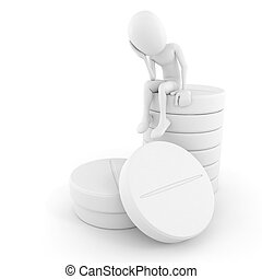 3d man sitting on a pile of pills, on white background