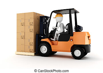 3d man worker driving a forklift