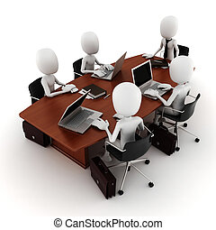 3D, homem, negócio, reunião
