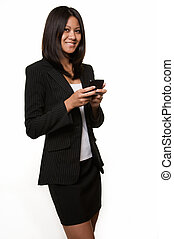 Smiling business woman - Attractive black hair woman from...