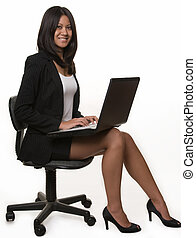 Business woman with laptop - Full body of an attractive...