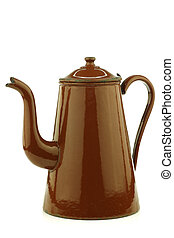 antique brown enameled coffee pot on a white background