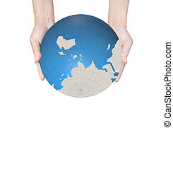 World in hands, global business on background white