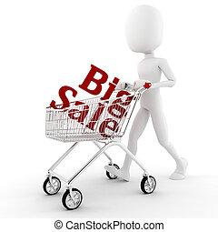 3d man pusing a shopping cart