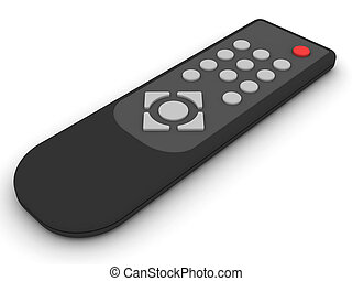 Universal remote control on white background. High...