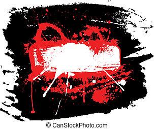 Red grunge blank frame on the dark