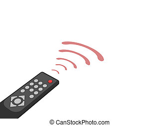 Universal remote control with red rays on white background....