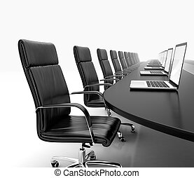 Meeting room - 3D render of conference room with black table...