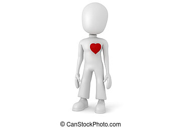3d man with a big red heart