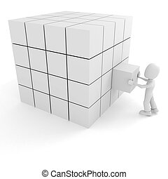 3d man pushing a cube into its place