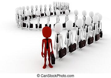 3d man business men following the leader