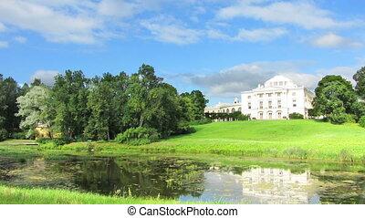 palace in Pavlovsk park St Petersburg Russia - timelapse