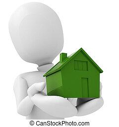 3D, homem, segurando, miniatura, casa, seu, mãos