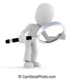 3d man holding a magnifier glass