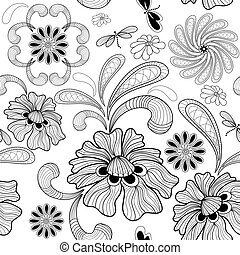 Seamless white floral pattern - Repeating white floral...