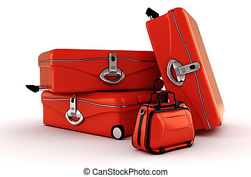 3d luggage isolated on white background