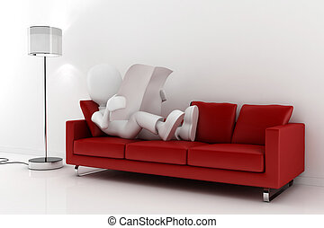 3d man reading the newspaper in a red sofa