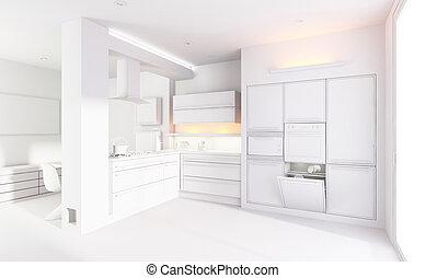 3d clay render of a modern kitchen interior design