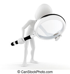 3d man with a big magnifier glass