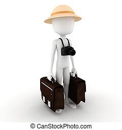 3d man tourist around the world