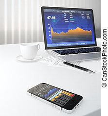 Business objects - 3D illustration of smartphone and laptop...