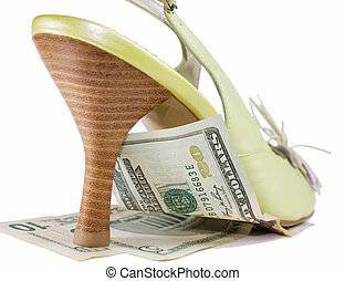 Inflation under heel - dollar banknot under high heeled...