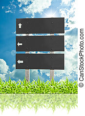 Wooden sign  billboard on the grass isolated on sky cloud background