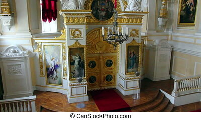 church interior in Pavlovsk palace St Petersburg Russia
