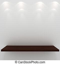 3d render of an empty presentation shelf