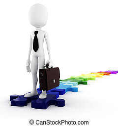 3d man business-man standing on colorfull puzzle pieces,...