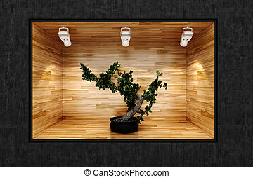 3d small tree in a presentation show case