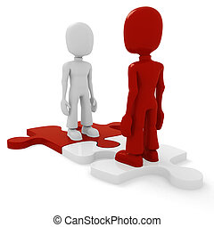 3d man puzzle join, concept