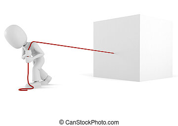 3d man pulling a giant cube, isolated on white