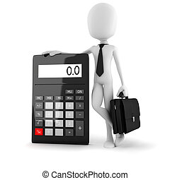 3d man business man standing near a big calculator over...