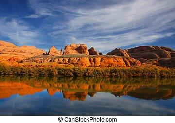 Red Rock River Reflections - Red rock reflections on the...