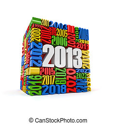 New year 2013cube built from numbers 3d