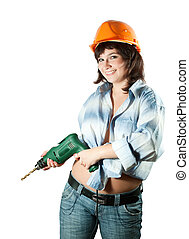 beauty girl with drill over white background