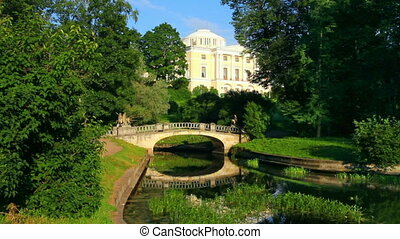 centaurs bridge and palace in Pavlovsk park St. Petersburg...