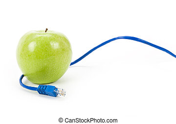 online learning - Green apple and Network cable, online...