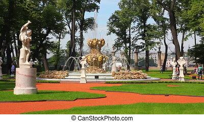 renovated Summer garden park in St. Petersburg Russia