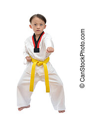 Taekwondo boy uniform in action isolated on white background...