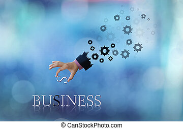 business hand - art work of business hand with wording with...
