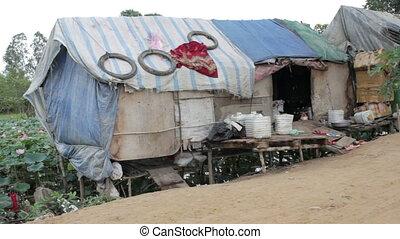 Very poor condition house in slum