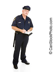 Police Officer On the Job - Police officer in uniform with...